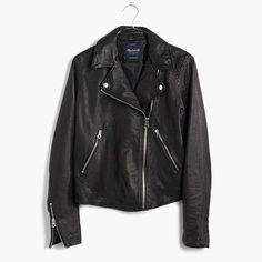 An authentic biker style in buttery washed leather for that perfectly broken-in, had-it-forever look. True to the source, this motorcycle jacket is complete with chunky silver hardware, like lapel snaps and sleeve zips. <ul><li>True to size.</li><li>Leather.</li><li>Professional leather clean.</li><li>Import.</li></ul>