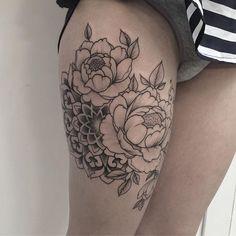 WEBSTA @ md_mironenko - #peony #dotwork #blacktattoo #blackwork #tattoo #flowers #mandala #ornaments #ornamentaltattoo