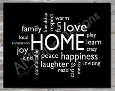Home Word Art  Cloud Art  Instant Download  by AMPitupdesigns  Words listed : HOME - love, compassion, friendship, comfortable, loud, read, learn, warm, kind, play, peace, respect, fun, joy, caring, inviting, family, crazy, happiness, messy, laughter