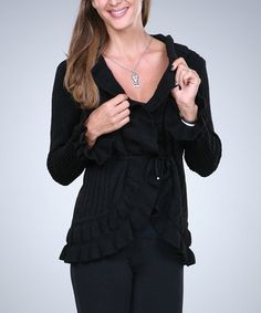 Look what I found on #zulily! Black Ruffle Cardigan - Women by Ananda's Collection #zulilyfinds