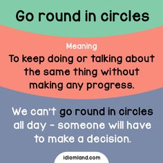 Idiom of the day: Go round in circles.  Meaning: To keep doing or talking about the same thing without making any progress.  Example: We can't go round in circles all day - someone will have to make a decision.