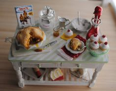Miniature Baking Table Filled With Goodies For Your Dollhouse Kitchen