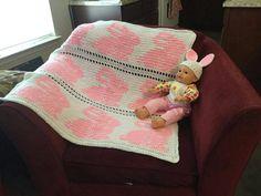 Crochet rabbit blanket and hat