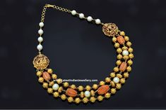 Corals Antique Gold Beads Necklace