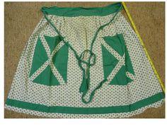 1 Ladies Vintage GREEN apron handmade