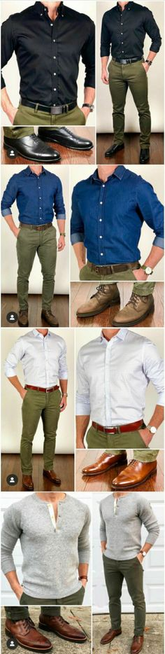 Outfit combination of four olive green pants with shirts(blue,black,white) - formal  #pants #trousers #trouser #olivegreentrousers #formalpants #formaltrouser #formaltrousers #formaloutfits #trouseroutfits #mensfashion #menswear #classicstyle #mensstyle #outfitgrid #fashionoutfits #fashiongrid