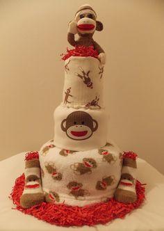 Sock Monkey Diaper Cake by BabyGiraffeGifts on Etsy, $75.00
