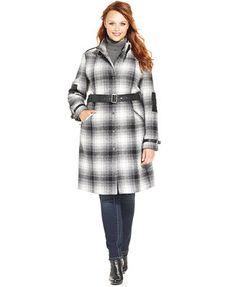 Modamix Plus Size Faux-Leather-Trim Plaid Coat Web ID: 1718011