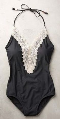 simple lace-front black maillot