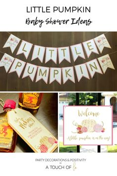 Baby Shower Ideas for a little pumpkin on the way!  #littlepumpkin #pumpkinshowerdecor #littlepumpkinshower Baby Girl Shower Themes, Baby Shower Invitations For Boys, Baby Shower Favors, Baby Shower Decorations, Baby Shower Fall, Fall Baby, Baby Boy Shower, Little Pumpkin Shower, Shower Banners