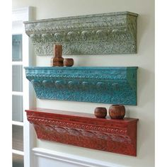 Distressed Embossed Wall Shelf - 48W x 13.63D x 8H in. $139.99