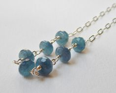 Blue Jade Necklace  Sterling Silver Beaded by VeronicaRussekJoyas