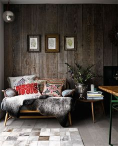 Modern rustic: decorating your home with reclaimed timber - Telegraph eclaimed old wood as wall cladding UK Living Room Decor, Living Spaces, Living Area, Estilo Interior, Luxury Interior, Modern Rustic Decor, Modern Country, Rustic Feel, Modern Industrial