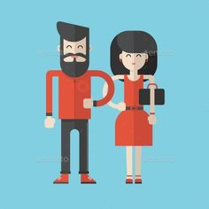 Flat Style Vector Illustration. Cartoon Characters - People Characters