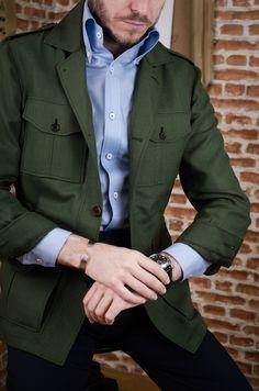 Old Man Fashion, Mens Fashion Wear, Camo Fashion, Mens Linen Jackets, Modern Men Street Style, Safari Jacket, Moda Casual, Men's Leather Jacket, Classy Men