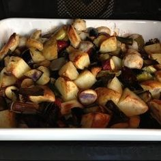 Chop up your root veggies, mix with olive oil seasoning, and pop it in the oven!