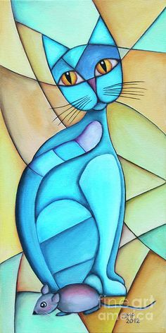 Cat And Mouse - Jutta Maria Pusl Cat and Mouse art print by Jutta Maria Pusl. Our art prints are produced on acid-free papers using archival inks to guarantee that they last a lifetime without fading or loss of color. All art prints include a 1 Cubism Art, Cat Quilt, Arte Pop, Cat Drawing, Stained Glass Art, Silk Painting, Painting Art, Cat Art, Modern Art