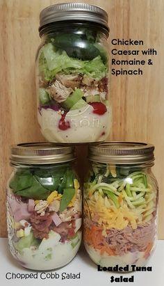 Chicken Caesar, Chopped Cobb and Loaded Tuna Mason Jar Salads Mason Jar Meals, Meals In A Jar, Mason Jars, Chopped Cobb Salad, Blue Cheese Salad, Salad In A Jar, Caesar Salad, Vegetable Salad, Boiled Eggs