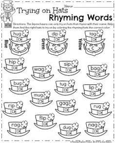 Kindergarten Rhyming Words Worksheets for March - Trying on Hats Rhyming Words
