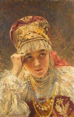 A Young Boyarynia - Konstantin Makovsky