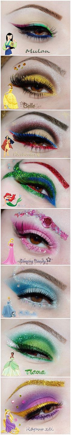 Eye makeup inspired by disney pricesses | make up art, eye shadow, party, evening, costume, Halloween make up. Mulan Belle - Beauty and the beast pocahontas Ariel - The little mermaid Aurora - The sleeping beauty Cinderella Tiana - The princess and the frog Rapunzel - Tangled