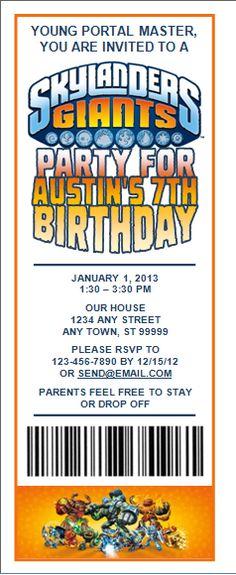 Skylanders Birthday Invitations Printable Free | Skylanders Party Invitations UPrint™ (8) Tickets PDF - $5.99 Easy ...