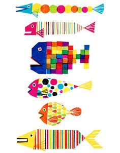 multi colored fish illustration