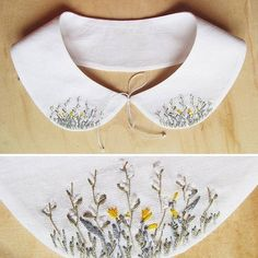 «New collar with field flowers and plants, cotton, for sale Новый воротничок с… Embroidery Letters, Shirt Embroidery, Hand Embroidery Stitches, Embroidery Designs, Broderie Simple, Sewing Collars, Bordados E Cia, Embroidered Clothes, Satin Stitch