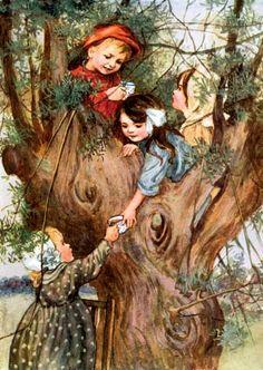 Tree house tea party by artist Faith Baldwin