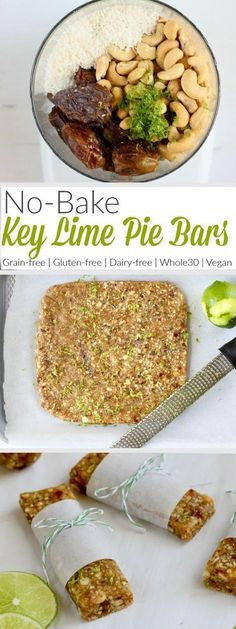 is all you need to make these No-Bake Key Lime Pie Energy bars. These are a knockoff of the fruit and nut bars everyone loves. Feel free to roll them into balls for a bite-sized treat or add a scoop or two of collagen a little protein boost. Paleo Vegan, Roh Vegan, Vegan Snacks, Healthy Treats, Protein Snacks, Vegan Protein Bars, Paleo Energy Bars, Gluten Free Protein Bars, Paleo Protein Bars
