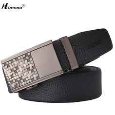 Retail Natural cowhide Pattern belt 100% First layer leather Luxury belts for men Plating Engraving Geometric Gun color Buckle