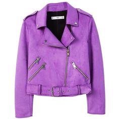 Zipped Biker Jacket ($81) ❤ liked on Polyvore featuring outerwear, jackets, purple jacket, purple motorcycle jacket, moto biker jacket, long sleeve jacket and embellished jackets