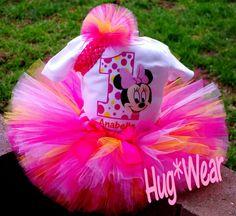 Custom Birthday Baby Minnie Mouse Face tutu 12m 18m 24m 2t 3t 4t 5t. $39.95, via Etsy.