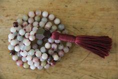love & passion, morganite and garnet, 108 bead gemstone zen mala, japa, prayer beads, yoga jewelry