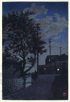 hanga gallery . . . torii gallery: Kamizaki, Bishu by Kawase Hasui