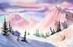 Mountain Glow Metal Print by Teresa Ascone. All metal prints are professionally printed, packaged, and shipped within 3 - 4 business days and delivered ready-to-hang on your wall. Watercolor Landscape, Watercolor Paintings, Watercolors, Watercolor Ideas, Watercolor Books, Art Paintings, Landscape Paintings, Glow Paint, Thing 1