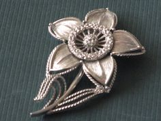 Silvertone MONET Flower Brooch Textured Petals by RicksVintagePlus, $26.00
