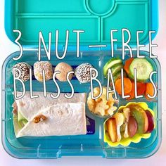 Nut-free bliss balls are the perfect lunch box snack. Packed with nutrients in a treat-size package, kids really go for them.
