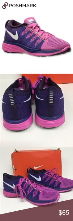 Nike Flyknit Lunar 2 Running Shoes 620658601 The Nike fly knit lunar 2 women's running shoe delivers the ideal blend of strength support and comfort with an ultra lightweight fit and soft Lynarton cushioning. The ultralight but strong Flytknit upper is precisely design to deliver a comfortable and supportive fit. Color is pink purple and white. Brand-new in box Shoes
