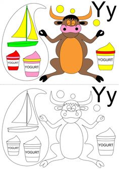 Have your child work on vocabulary and the letter 'y' sound with this alphabet coloring page that features yogurt, a yacht, a