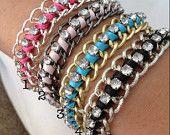 Woven Chain Bracelet with Rhinestones