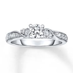 $2049- Diamond Engagement Ring 3/4 ct tw Round-cut 14K White Gold
