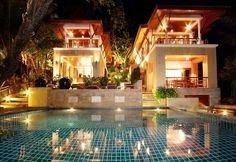 Located on the southern headland of Kata beach with uninterrupted views of the Andaman Sea, this privately owned, four bedroom, Thai-style villa boasts a host of luxury features. It has three main dining areas, 2 private pools, with a children's pool and plenty of outside deck surrounded by luscious mature, tropical plants.   The main pool has a stunning infinity effect with water a deep sea-blue colour to match the glistening sea beyond. Facing directly west the villa is cool in the ...