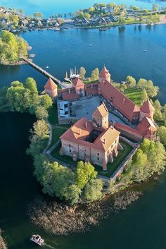 Aerial view of Trakai Island Castle on Lake Galve, Lithuania