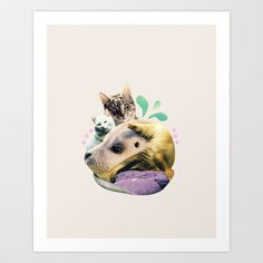 furry on the meowsea Art Print by cardboardcities - $19.00