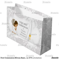 First Communion African American Thank You Large Gift Bag Blonde Hair Girl, Brunette Hair, Holiday Cards, Christmas Cards, First Communion Invitations, Custom Gift Bags, Large Gift Bags, Christmas Card Holders, Invitation Design