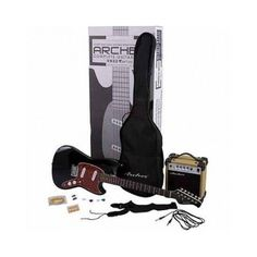Package Includes: Guitar Amp, Instrument Cable, Gig Bag, Guitar Strap, Guitar Picks and a set of strings Features: Basswood Body Bolt-On Maple Neck. Guitar Amp, Cool Guitar, Guitar Picks, Archer, Musical Instruments, Musicals, Packing, Take That, Electric