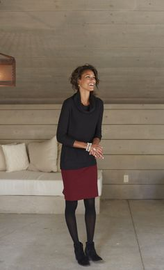 Abby cowl-neck sweater and the ponte knit windowpane pencil skirt.