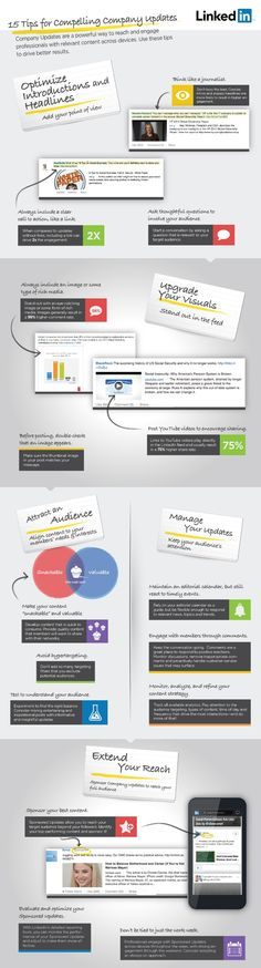 15 tips for better company page updates infographic by LinkedIn Marketing Solutions via Slideshare