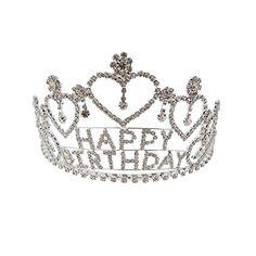 "Rosemarie Collections Women's Crystal Rhinestone ""Happy Birthday"" Tiara Crown"